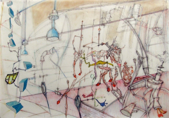 "Even cowmen get the blues, mixed media on vellum, 37"" x 26, 2009"