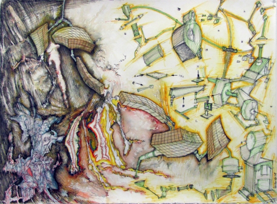 "Feed the meat machine, mixed media on paper, 22"" x 30"", 2009"