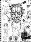 Planar self-portrait, ink and toner transfer in sketchbook, 2007